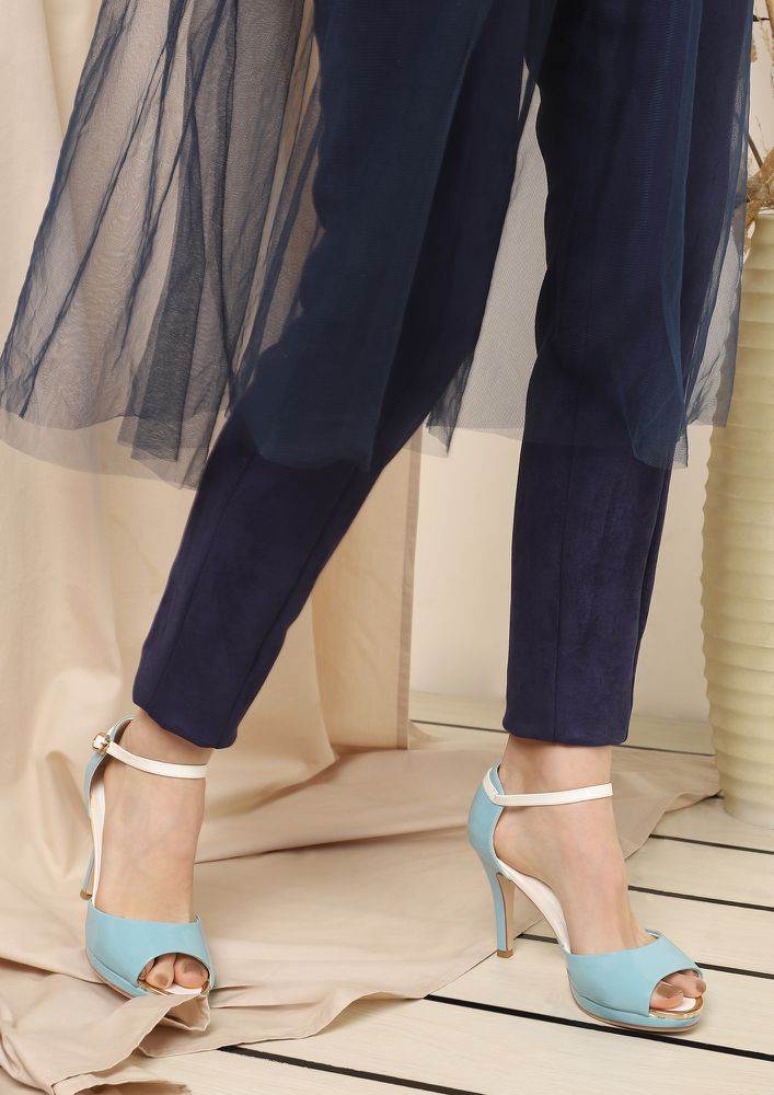 BASICS FIRST BLUE PEEP-TOE HEELS