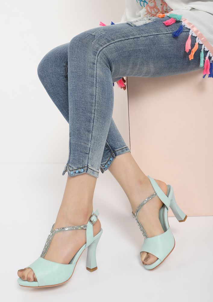 PRETTIFY ME IN BLUE PEEP TOE HEELS