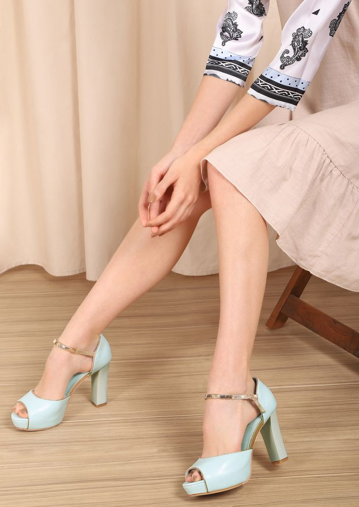 CALL ME WHEN SOBER TURQUOISE PEEP-TOE HEELS