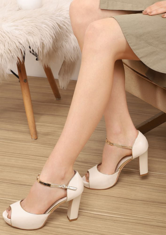 BLING IT IN BEIGE PEEP-TOE HEELS