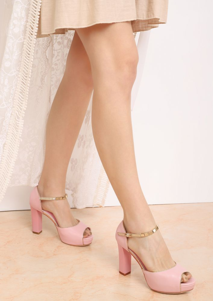 CALL ME WHEN SOBER PEACH PEEP-TOE HEELS