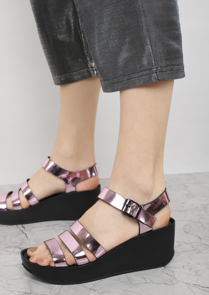 GET DOWN TO THE BASICS PINK METALLIC WEDGES