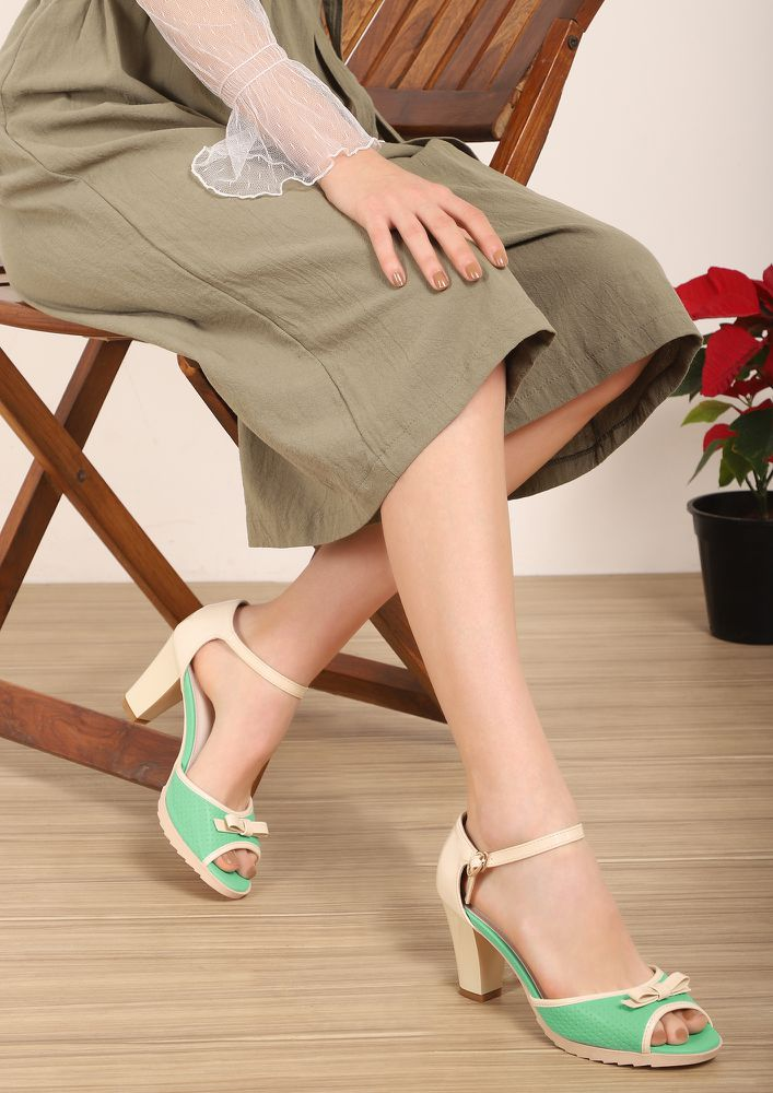 GOOD BASICS GREEN BEIGE PEEP-TOE HEELS