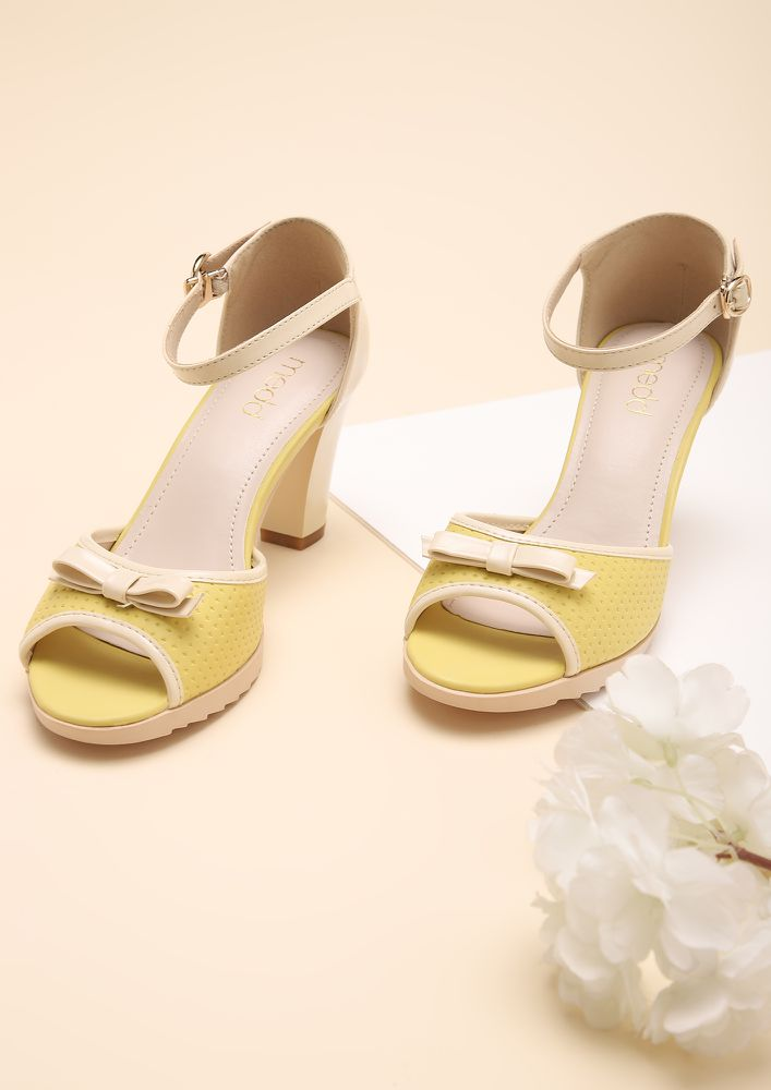 GOOD BASICS YELLOW BEIGE PEEP-TOE HEELS