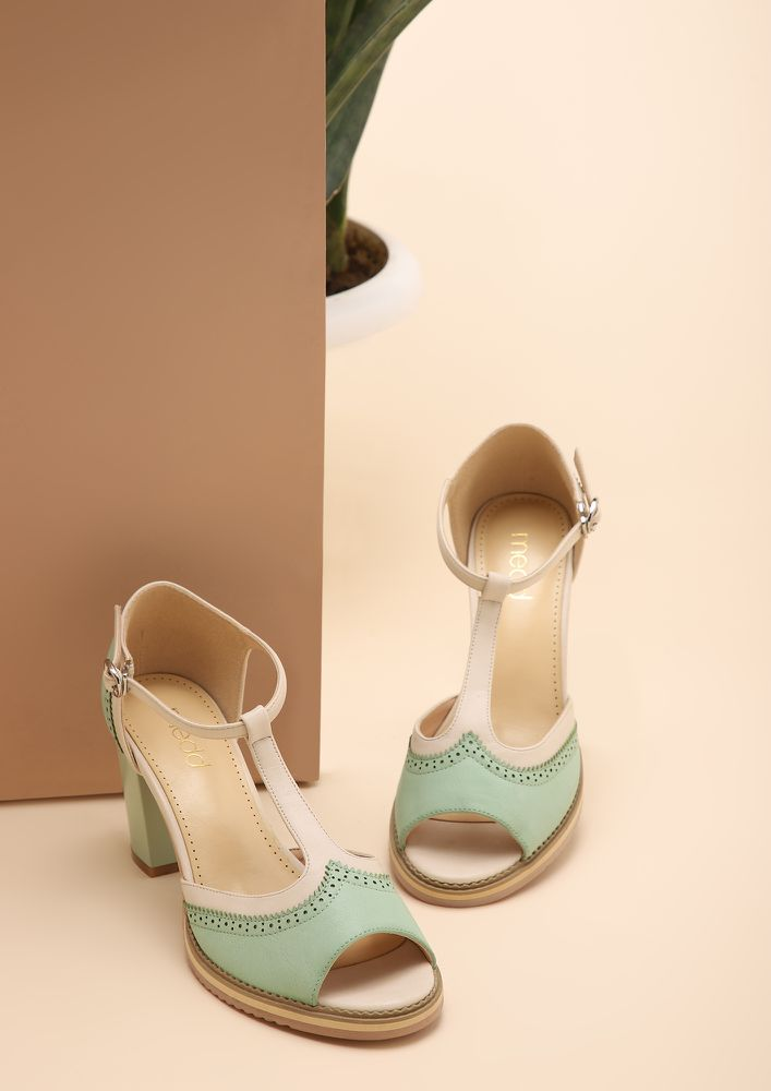WEAR ME ALL DAY GREEN HEELED SANDALS
