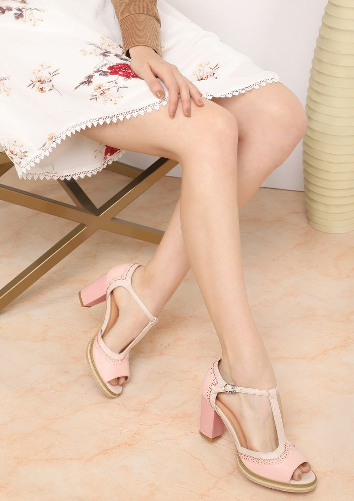 GET TO WORK PEACH PEEP-TOE HEELS