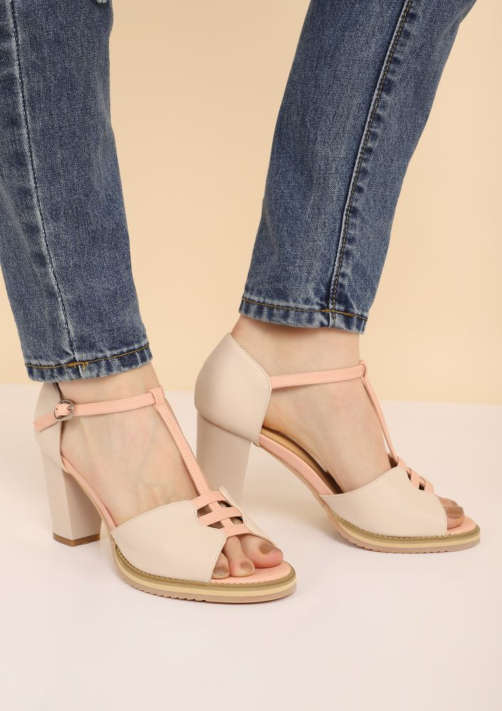 BLOCK THEM OUT PEEP-TOE HEELS