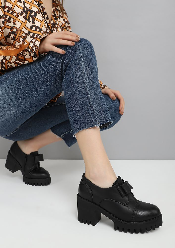 UP YOUR CLOCK-IN GAME BLACK HEELED BROGUES