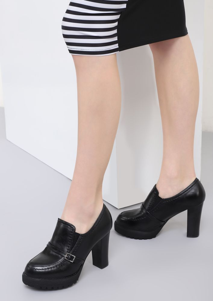 ALWAYS A DOER BLACK HEELED SMART SHOES