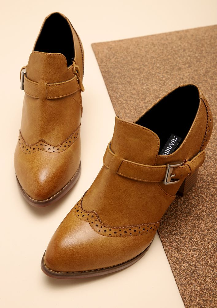 POWER PLAY BROWN HEELED SMART SHOES