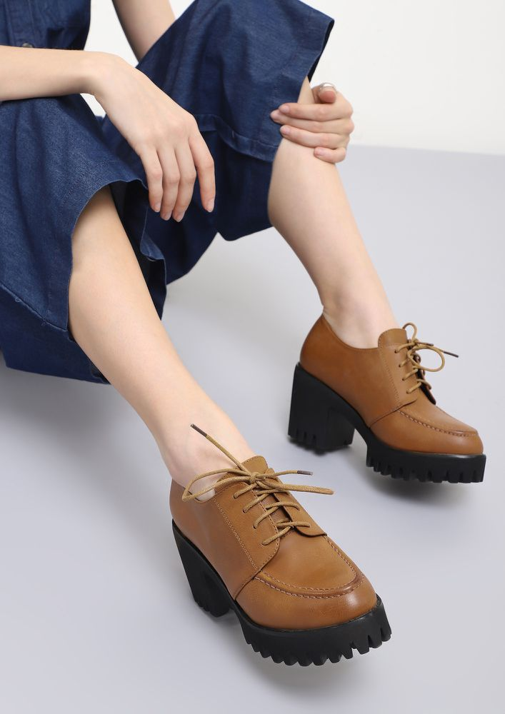 NOT WITHOUT LACES BROWN HEELED SMART SHOES