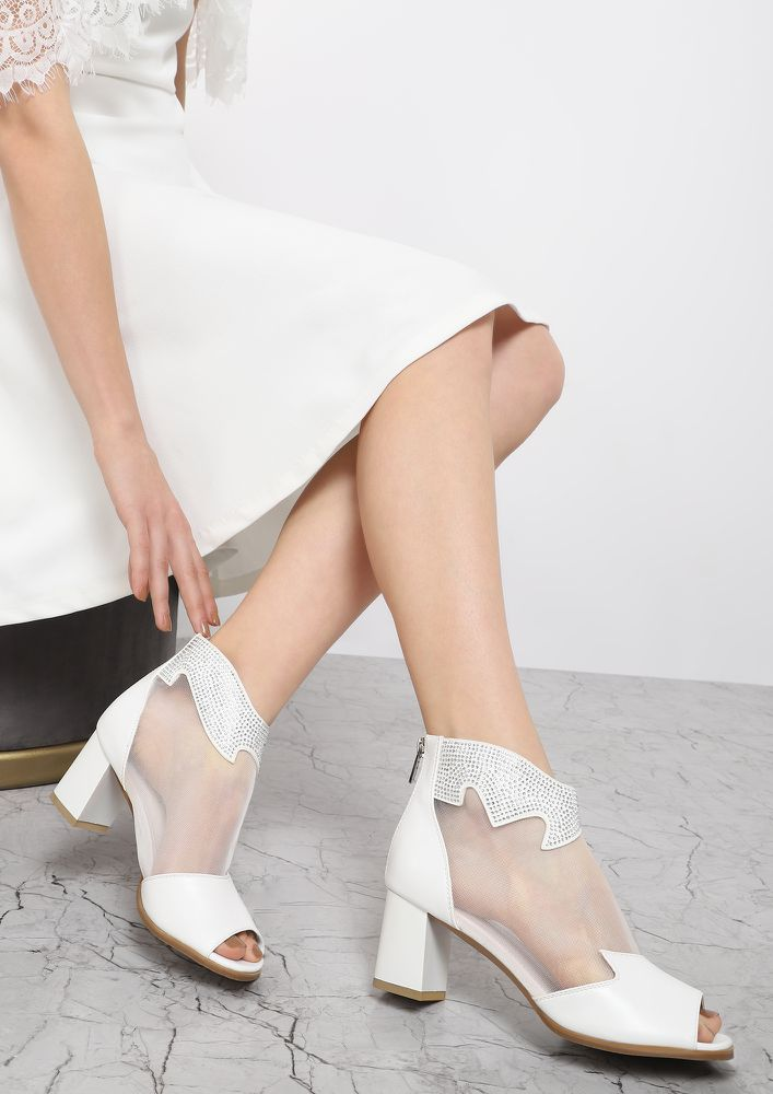 HOW D'YOU MESH ME WHITE PEEP-TOE BOOTIES