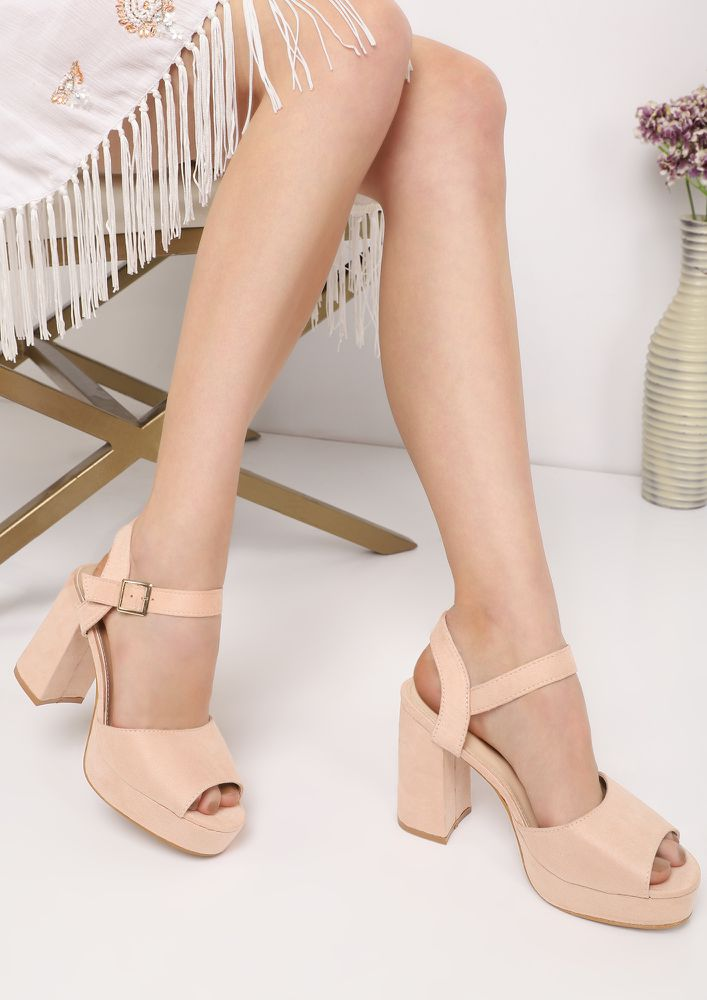 CLASSICS ALWAYS WORK PEACH HEELED SANDALS