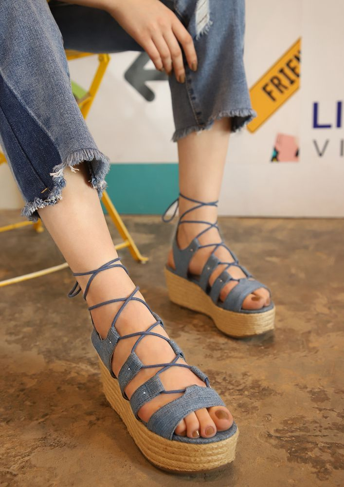 CROSS THY HEART BLUE DENIM WEDGES