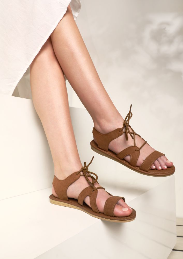 HELLO HOMIES TAN FLAT SANDALS