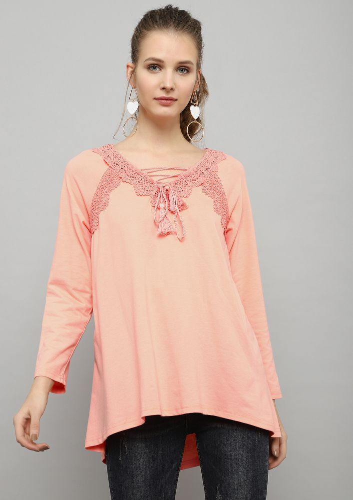 PRETTY DAINTY PEACH TUNIC TOP