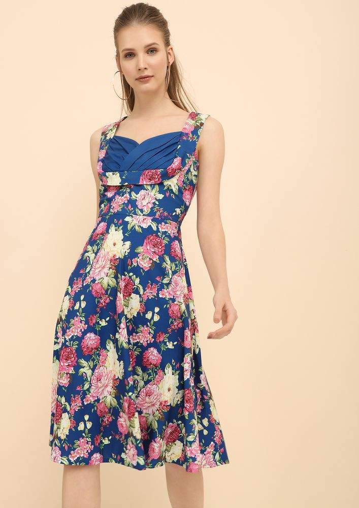 FLOWERS OF MY KIND BLUE MIDI DRESS