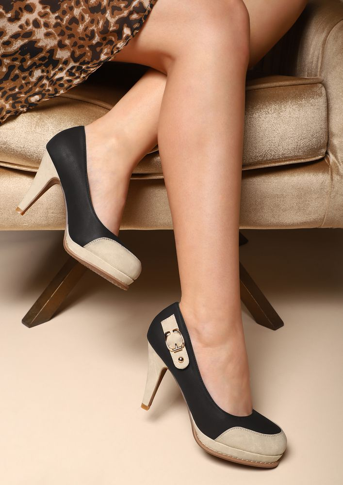 BUCKLE UP BABE BLACK PUMPS
