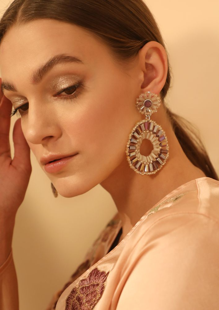 GOSS BABE VICIOUS CIRCLE CHAMPAGNE EARRINGS