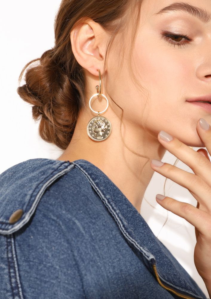 GOSS BABE COIN AND CHARM GOLDEN EARRINGS