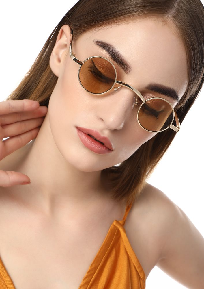 CIRCULAR THOUGHTS BEIGE ROUND SUNGLASSES