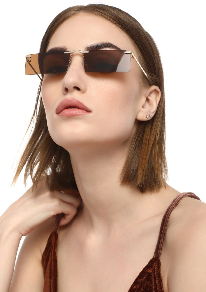 GET OUTTA MY MIND BROWN RECTANGULAR SUNGLASSES
