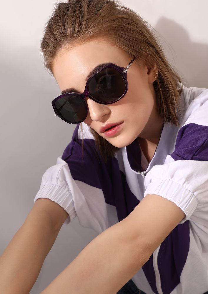 THIS TOO SHALL PASS PURPLE RETRO SUNGLASSES