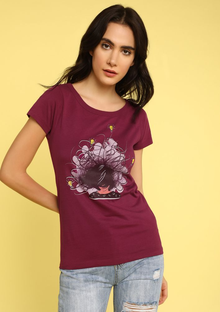 MAD FAT MONKEY MESSY HEAD PURPLE T-SHIRT