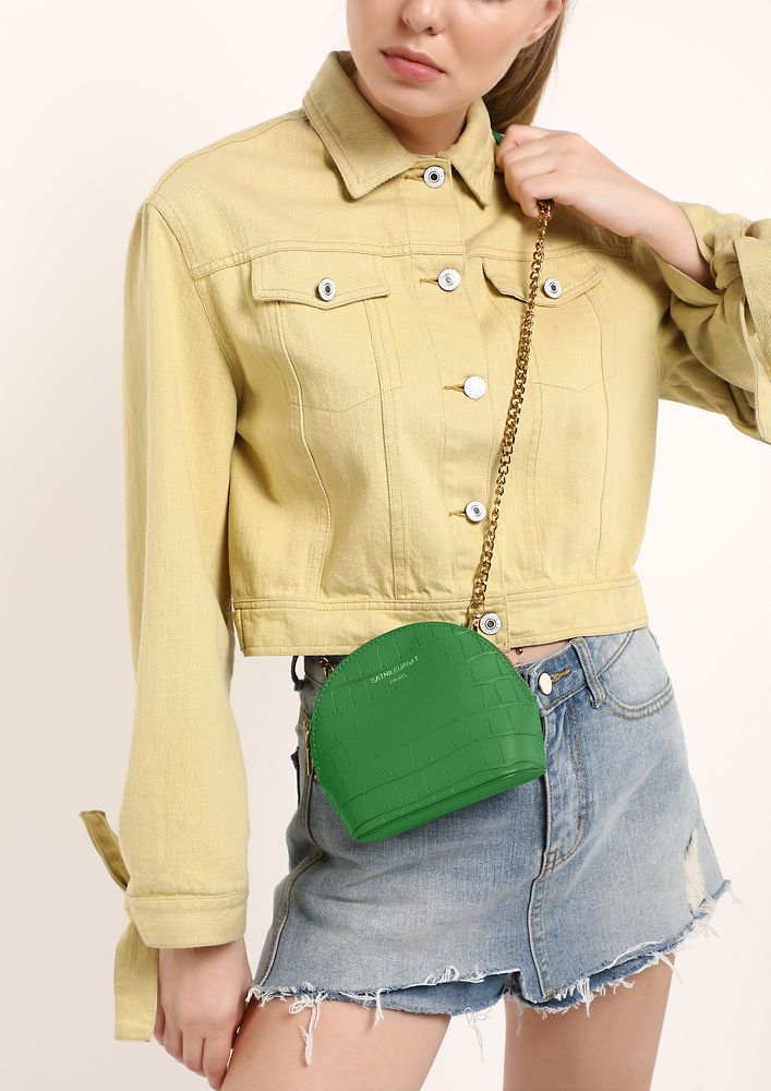 CAN'T STOP MY VIBE GREEN SLING PURSE