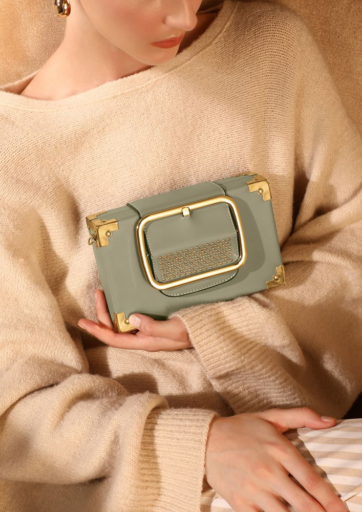 BOXED UP PASTEL GREEN SLING BAG