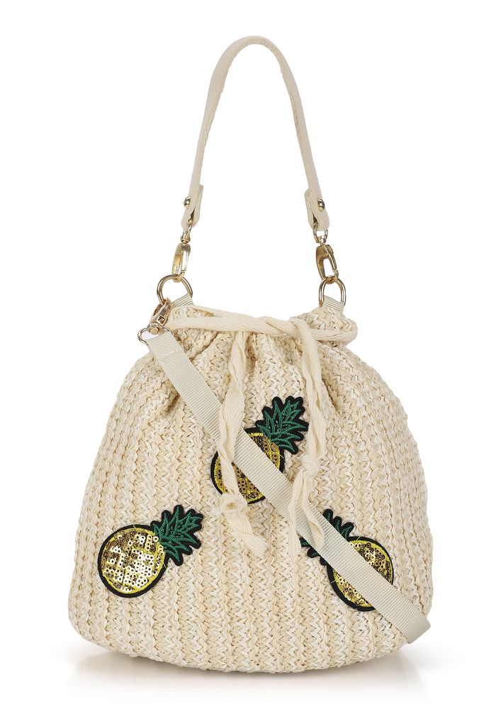 YOU'RE MY PINEAPPLE BEIGE BUCKET BAG