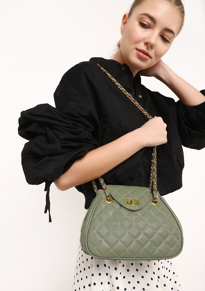 QUILT IT  OLIVE GREEN SLING BAG