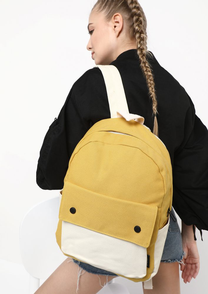 COLOUR BLOCK YELLOW BACKPACK