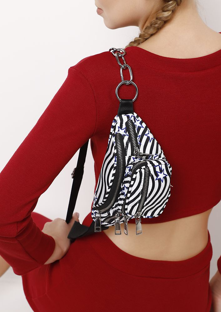 STRIPES TO PLEASE BLACK FANNY  PACK