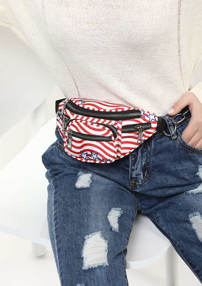 STRIPES TO PLEASE RED FANNY  PACK
