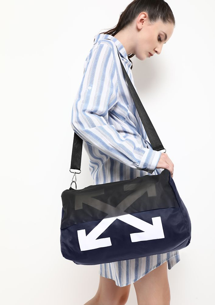 ALWAYS AT CROSSROADS BLUE DUFFLE BAG