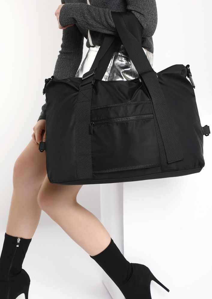 WANDERLUST NEVER STOPS BLACK DUFFLE BAG