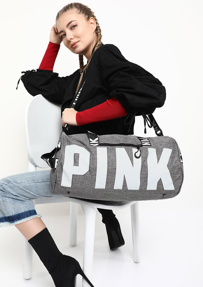 ALL THINGS GIRLY GREY DUFFLE BAG
