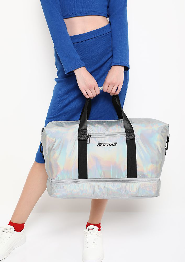 SLAYIN ALREADY SILVER DUFFLE BAG