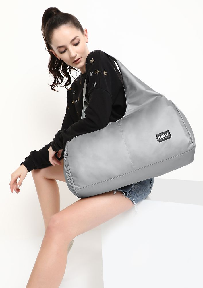 THATS WHAT I LIKE SILVER HOBO DUFFLE BAG