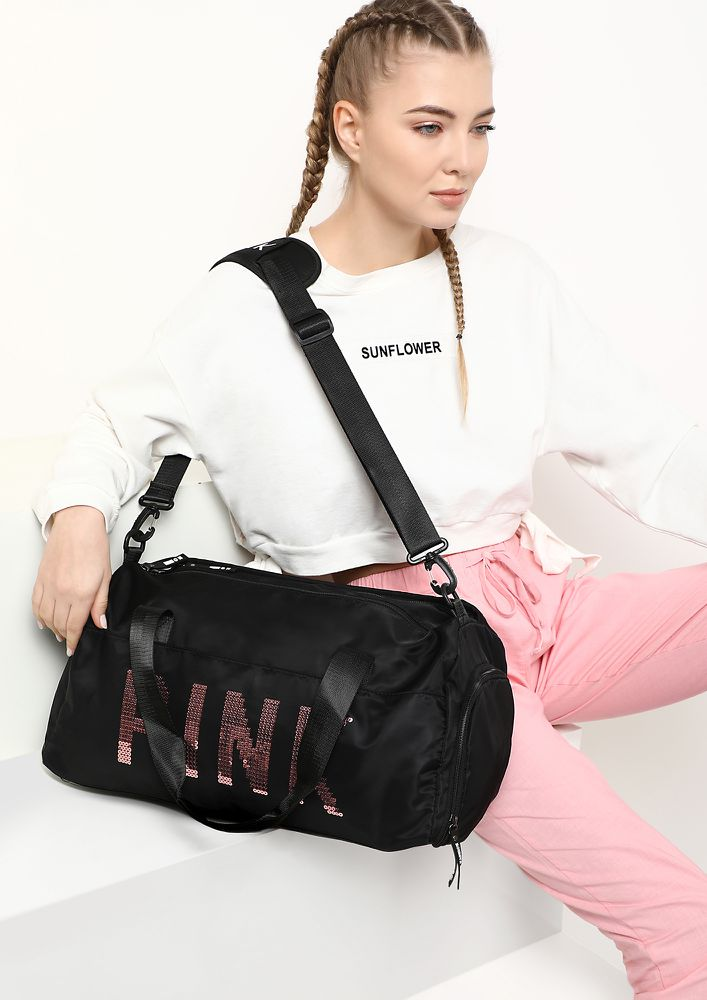 Weekending Worthy Black Duffle Bag