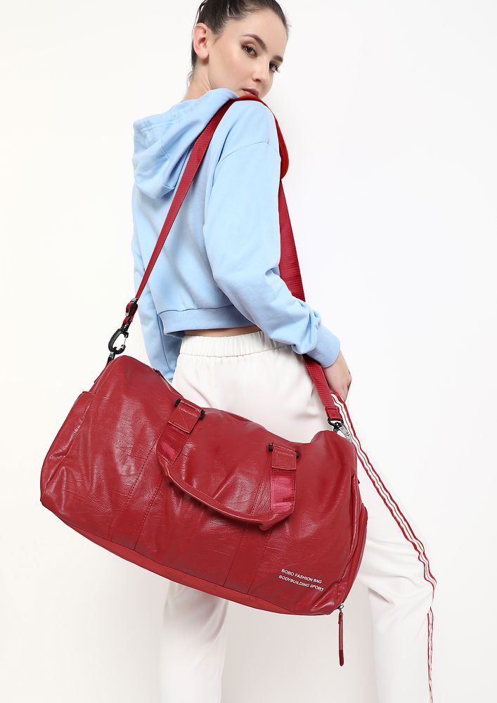 GET IN SHAPE RED DUFFLE BAG