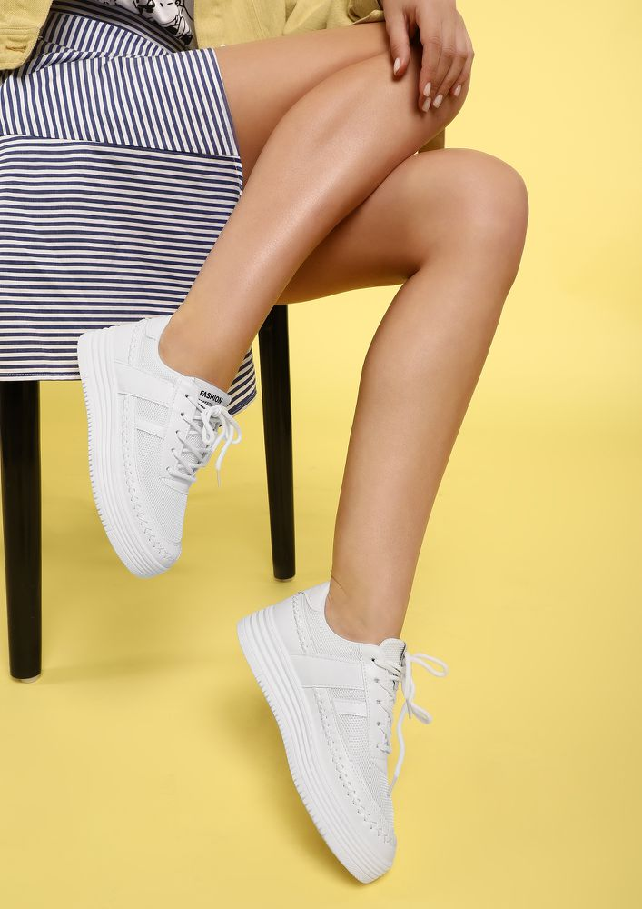 THINK ABOUT ME WHITE TRAINERS