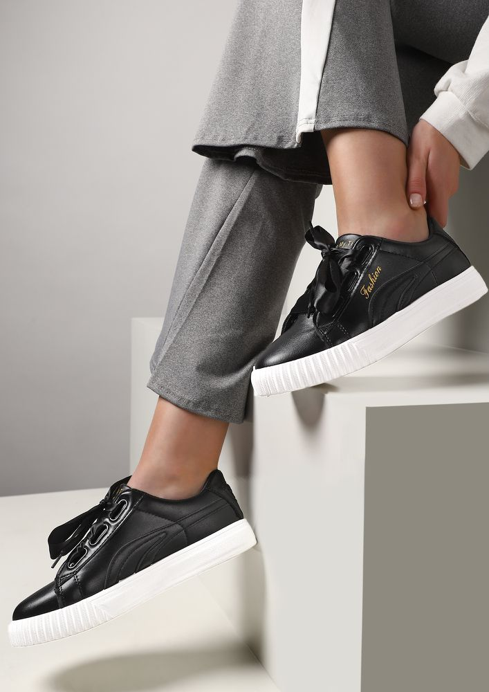 BE MY CONSTANT BLACK TRAINERS