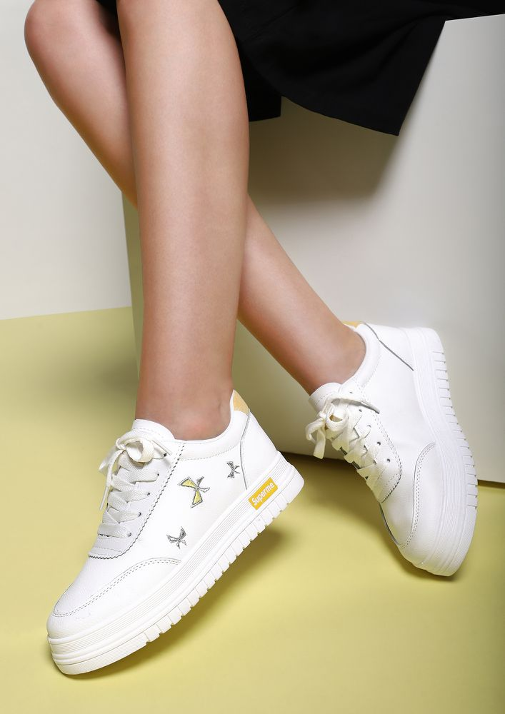 ALL MY BOWS YELLOW WHITE TRAINERS
