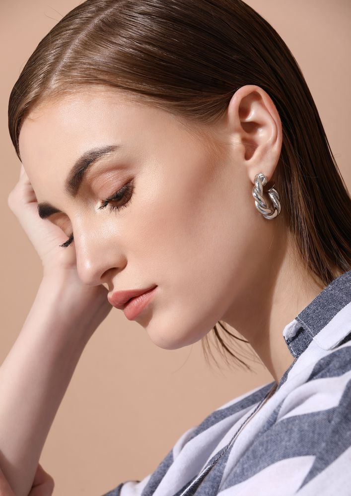 GOSS BABE SHINE BRIGHT SILVER EARRINGS