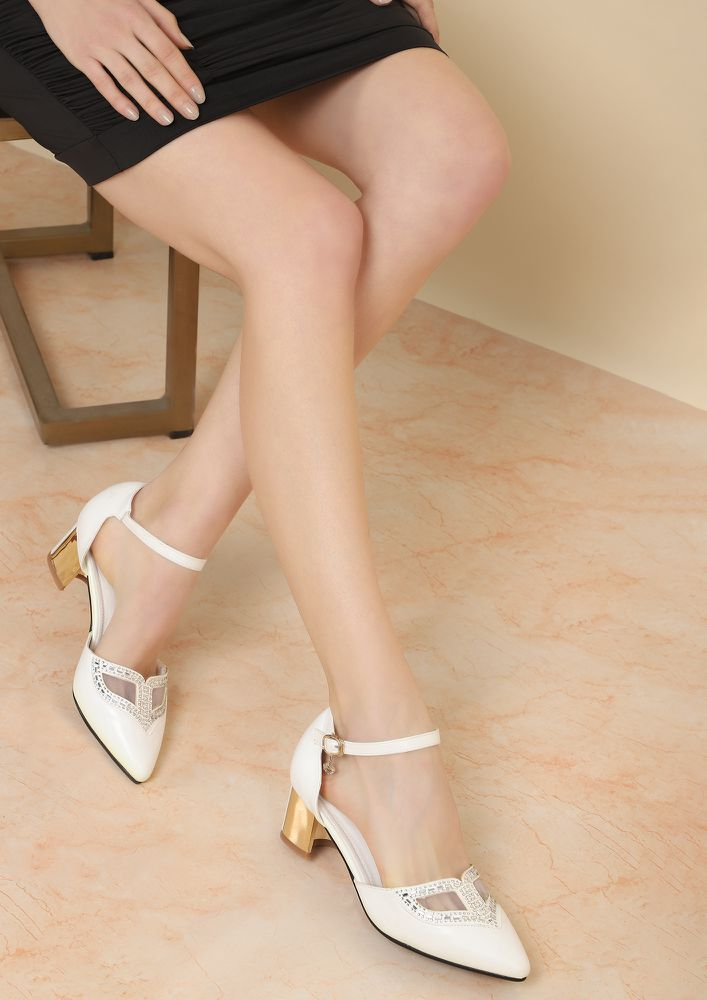 TIME TO MAKE A DIFFERENCE WHITE HEELED SHOES