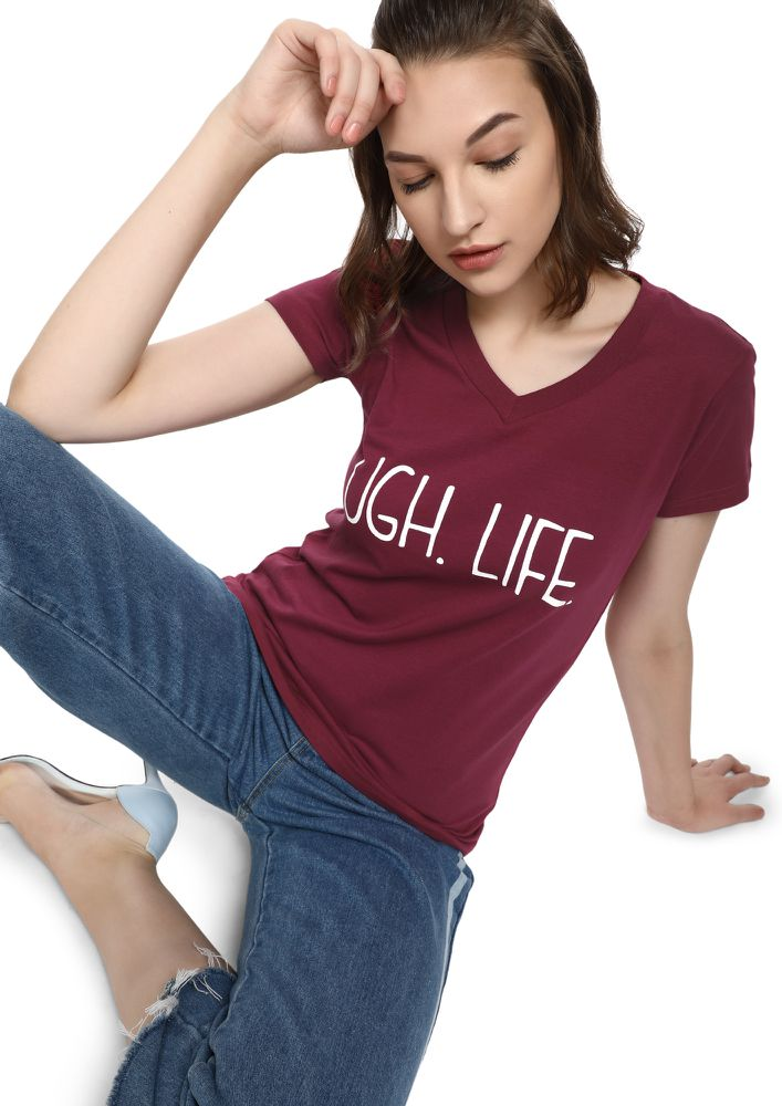 MAD FAT MONKEY TOUGH LIFE MAROON T-SHIRT