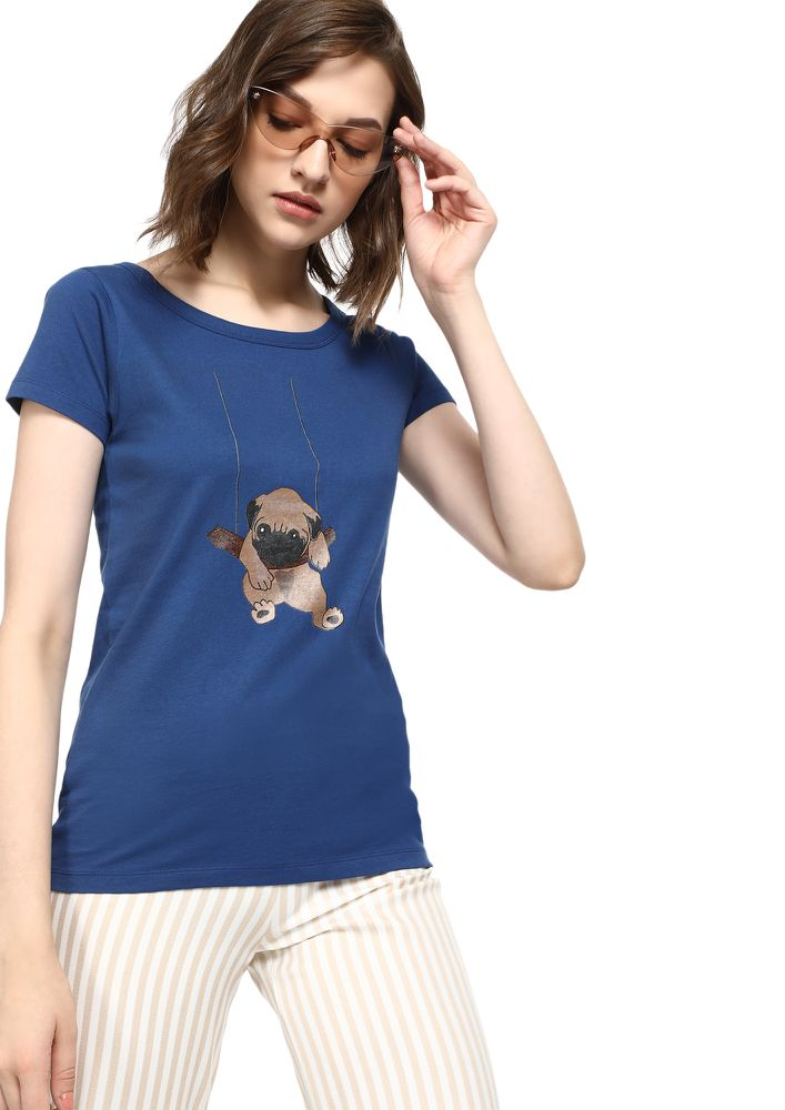MAD FAT MONKEY YOU AND I NAVY T-SHIRT