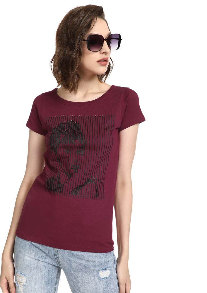 MAD FAT MONKEY PARTY LIFE MAROON T-SHIRT